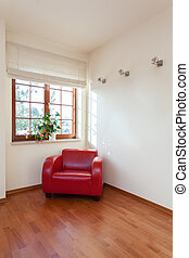 Classy house - bright room with red comfortable armchair