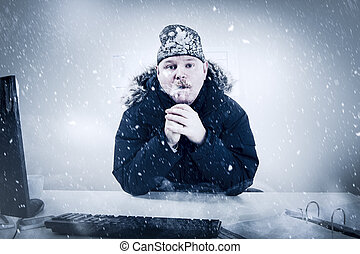 Businessman in a Cold Office with Snow and Ice - Office...