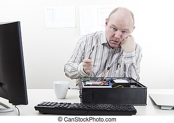 Computer Problems - Office worker businessman with lose...