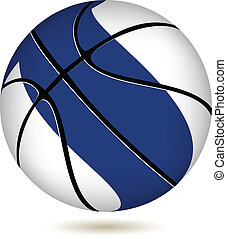 Basketball ball with Finland flag on white. - EPS 10 Vector....
