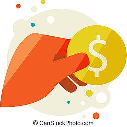 Man's hand holding a coin. Flat design modern vector...