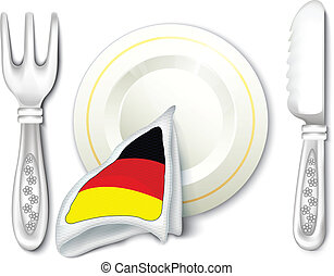 Plate Fork Knife with Germany Flag