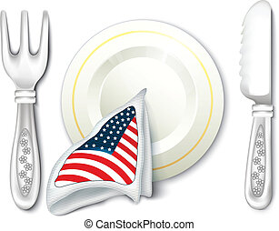 Plate Fork Knife with USA Flag