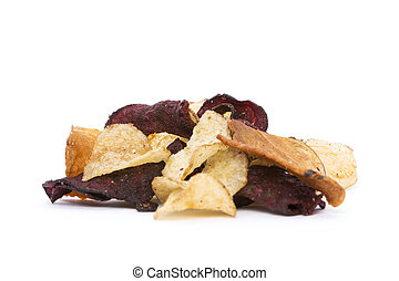 Organic Root Vegetable Crisps - Side view of organic Root...