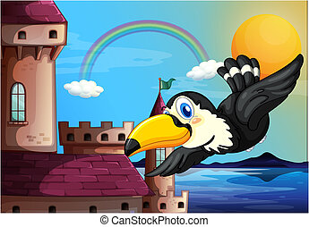 A bird near the castle with a rainbow in the sky -...
