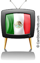 The flag of Mexico inside the TV screen - Illustration of...