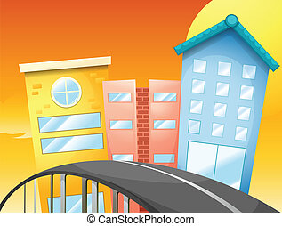 A bridge near the tall buildings - Illustration of a bridge...