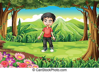 A handsome boy at the forest - Illustration of a handsome...