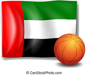 The flag of United Arab Emirates with a ball