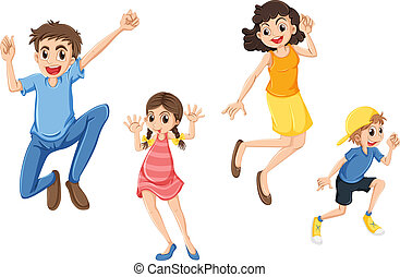 A happy family jumping