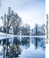 not frozen pond in winter - landscape is not still pond with...
