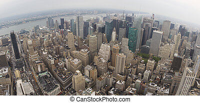 Wide Aerial View of Manhatten - Manhatten on a grey and...