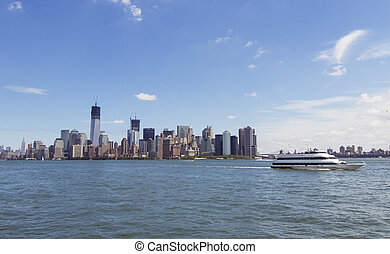 New York Manhatten - Manhatten shot from Liberty Island on...