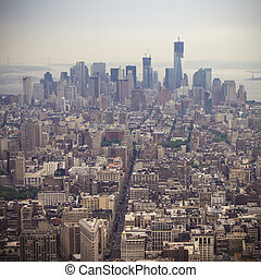 Aerial View of Manhatten - Manhatten on a grey and foggy day...