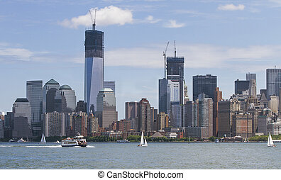 Manhatten in New York - Manhatten shot from Liberty Island...