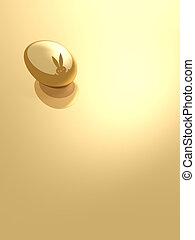 Gold easter egg. - Golden egg with Easter hare.