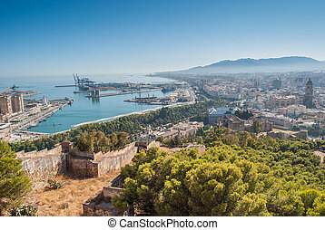 Malaga Cityscape view from Gibralfaro Fortress