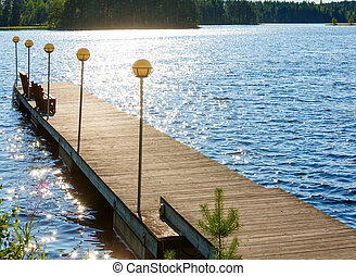 Lake summer view Finland - Lake summer view with forest on...