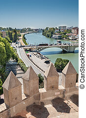 A view of siviglia and Guadalquivir river from the tower of...