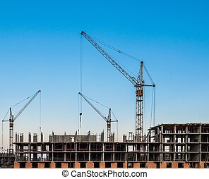 construction of residential buildings - Lift crane building...