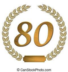 dourado, laurel, grinalda, 80
