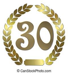 shiny golden laurel wreath 30