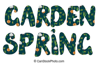 Garden and spring banners with plants and leaves