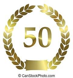 shiny golden laurel wreath 50