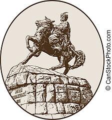 monument of famous Ukrainian hetman Bogdan Khmelnitsky -...