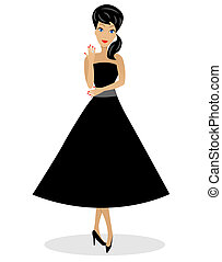 beautiful young woman full length, vector illustration