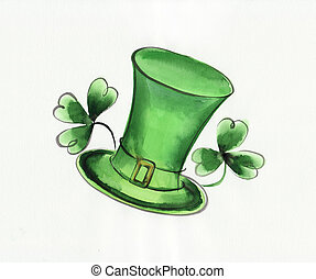 Green hat and shamrock - Composition of green hat and irish...