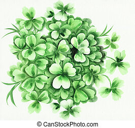 Shamrock - Composition of green shamrock and grass Original...