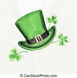 Green hat and clover - Composition of green hat and irish...