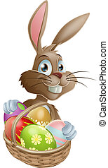 Chocolate eggs Easter bunny - A Easter bunny rabbit with a...