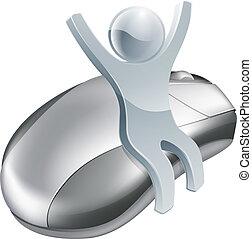 Computer mouse man internet concept