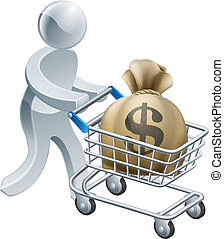 Person pushing trolley with money - Money shopping cart...