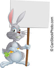 White Easter bunny rabbit sign - Cartoon white bunny rabbit...