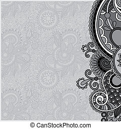 grey vintage floral ornamental template on flower...