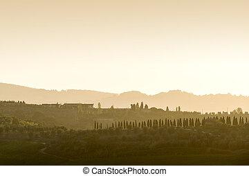 Tuscany Landscape at sunset - Landscape of Tuscany with...