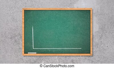 Business chart falling on the green chalkboard. Business...