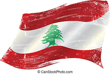 lebanese grunge flag - flag of Lebanon in the wind with a...