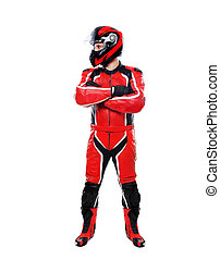 motorcyclist full length on white background lookingto the...