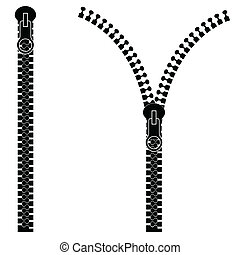 Zipper isolated on white background, vector illustration