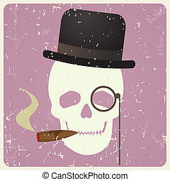 Vintage gentleman skull, vector illustration