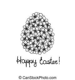 beautiful monochrome black and white Easter greeting card with flowers graphics in the form of eggs