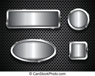 Metallic buttons on textured background Vector illustration