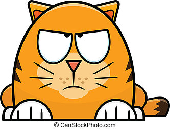 Grumpy Looking Orange Cartoon Cat - Grumpy little orange...