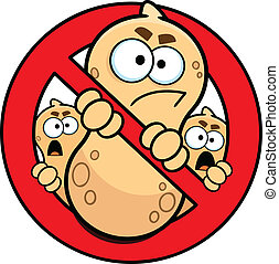 No Peanuts Allowed Allergy Sign - Cartoon drawing of a no...
