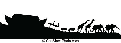 Noeh's, ark, animals, isolated, white, vector