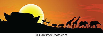 Noahs ark and sunset in background, vector illustration